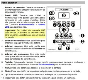 instrucciones alesis command mesh kit